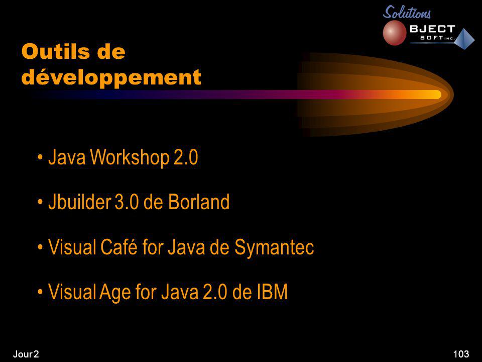 Jour 2103 Outils de développement • Java Workshop 2.0 • Jbuilder 3.0 de Borland • Visual Café for Java de Symantec • Visual Age for Java 2.0 de IBM