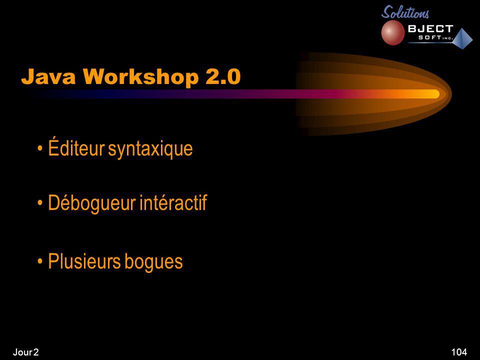 Jour 2104 Java Workshop 2.0 • Éditeur syntaxique • Débogueur intéractif • Plusieurs bogues