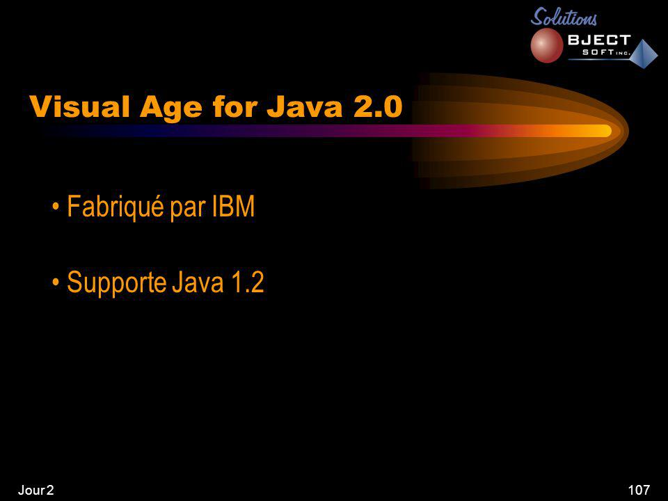 Jour 2107 Visual Age for Java 2.0 • Fabriqué par IBM • Supporte Java 1.2