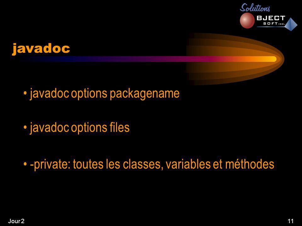 Jour 211 javadoc • javadoc options packagename • javadoc options files • -private: toutes les classes, variables et méthodes