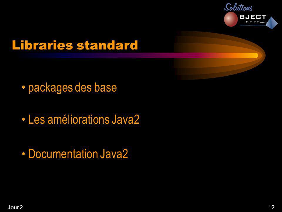 Jour 212 Libraries standard • packages des base • Les améliorations Java2 • Documentation Java2
