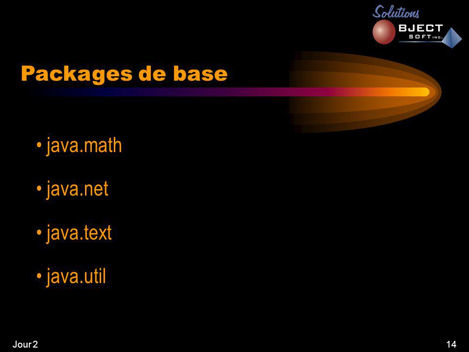 Jour 214 • java.math • java.net • java.text • java.util Packages de base