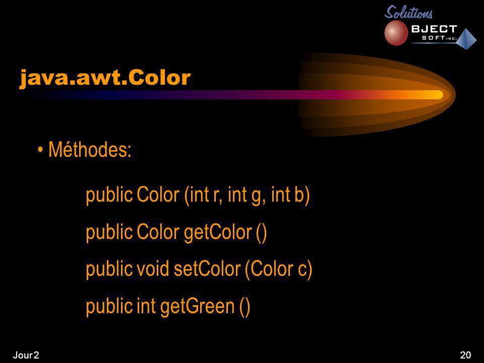 Jour 220 java.awt.Color • Méthodes: public Color (int r, int g, int b) public Color getColor () public void setColor (Color c) public int getGreen ()