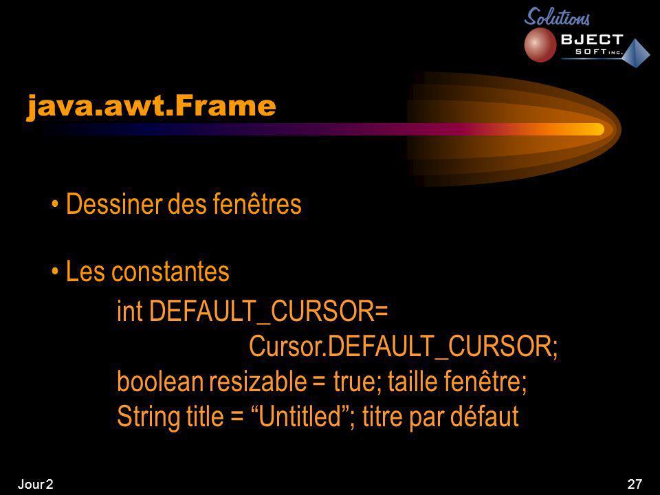 Jour 227 java.awt.Frame • Dessiner des fenêtres • Les constantes int DEFAULT_CURSOR= Cursor.DEFAULT_CURSOR; boolean resizable = true; taille fenêtre; String title = Untitled ; titre par défaut