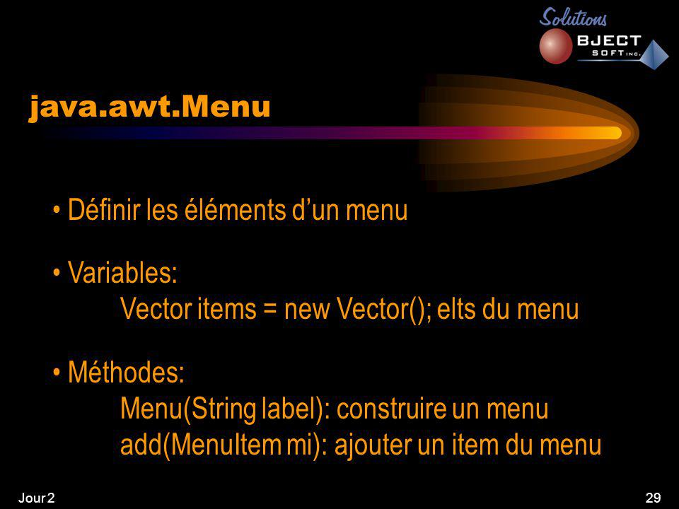 Jour 229 java.awt.Menu • Définir les éléments d'un menu • Variables: Vector items = new Vector(); elts du menu • Méthodes: Menu(String label): construire un menu add(MenuItem mi): ajouter un item du menu