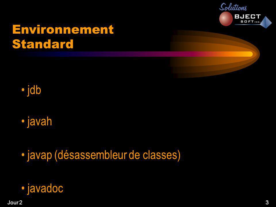 Jour 23 Environnement Standard • jdb • javah • javap (désassembleur de classes) • javadoc