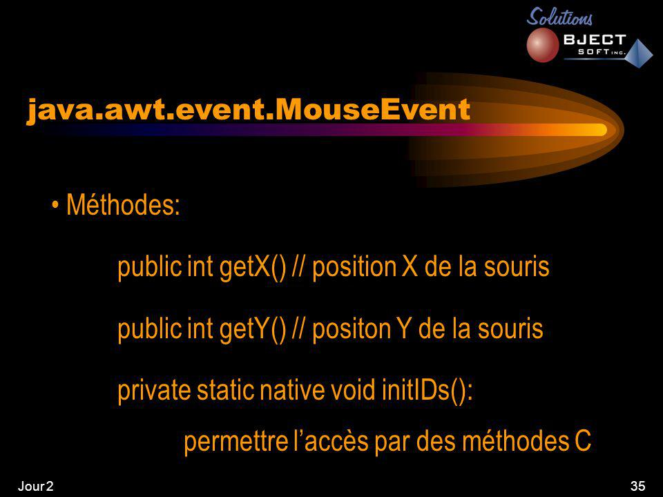 Jour 235 java.awt.event.MouseEvent • Méthodes: public int getX() // position X de la souris public int getY() // positon Y de la souris private static native void initIDs(): permettre l'accès par des méthodes C