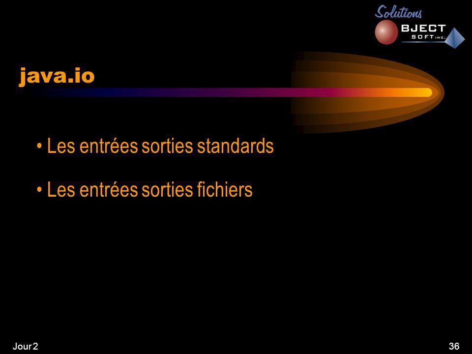 Jour 236 java.io • Les entrées sorties standards • Les entrées sorties fichiers