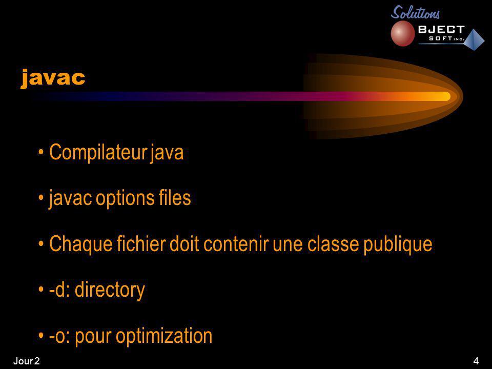 Jour 24 • Compilateur java • javac options files • Chaque fichier doit contenir une classe publique • -d: directory • -o: pour optimization javac