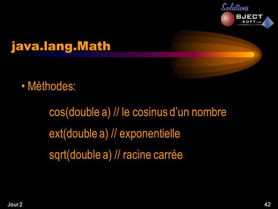 Jour 242 java.lang.Math • Méthodes: cos(double a) // le cosinus d'un nombre ext(double a) // exponentielle sqrt(double a) // racine carrée