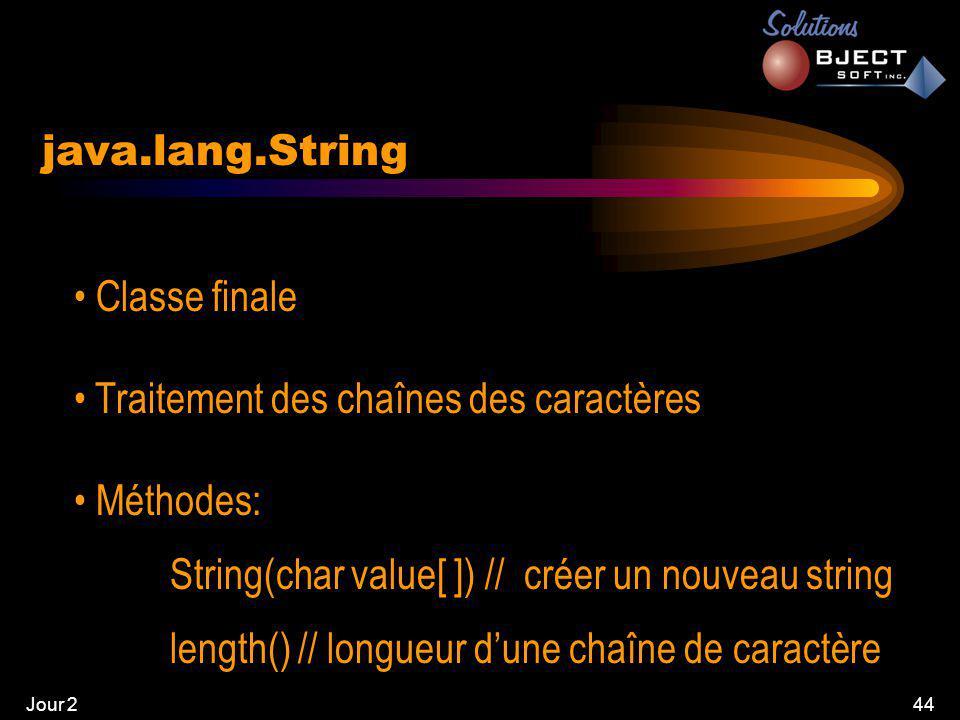 Jour 244 java.lang.String • Classe finale • Traitement des chaînes des caractères • Méthodes: String(char value[ ]) // créer un nouveau string length() // longueur d'une chaîne de caractère