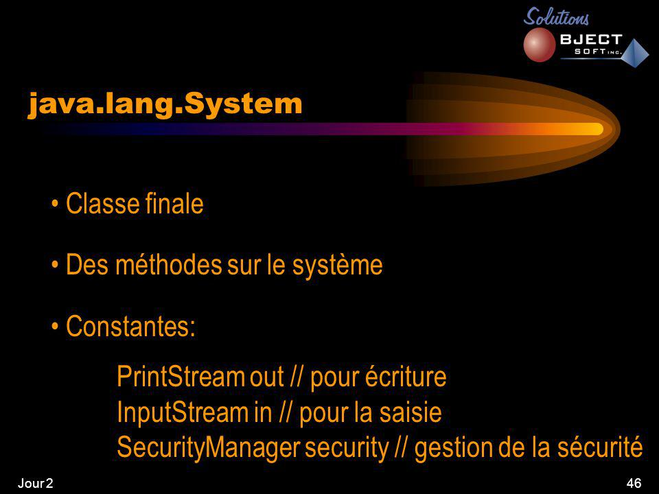Jour 247 java.lang.System • Méthodes: gc() // forcer le garbage collector setSecurityManager(SecurityManager s) exit(int status) // quitter
