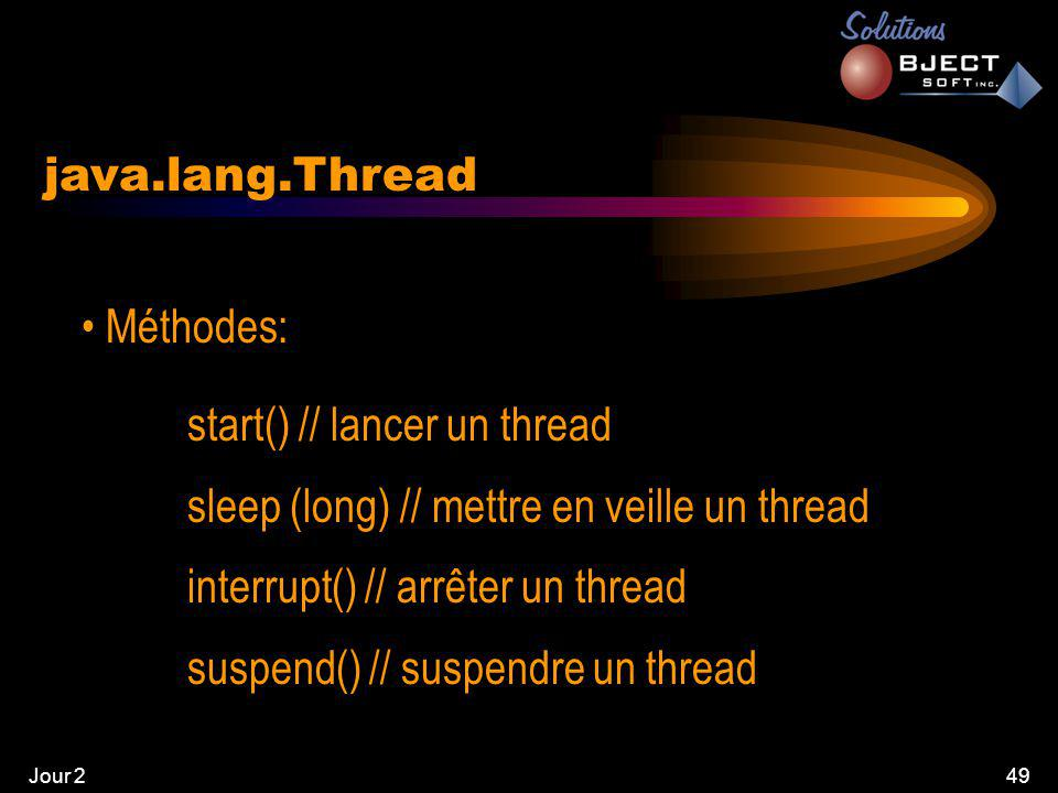 Jour 249 java.lang.Thread • Méthodes: start() // lancer un thread sleep (long) // mettre en veille un thread interrupt() // arrêter un thread suspend() // suspendre un thread