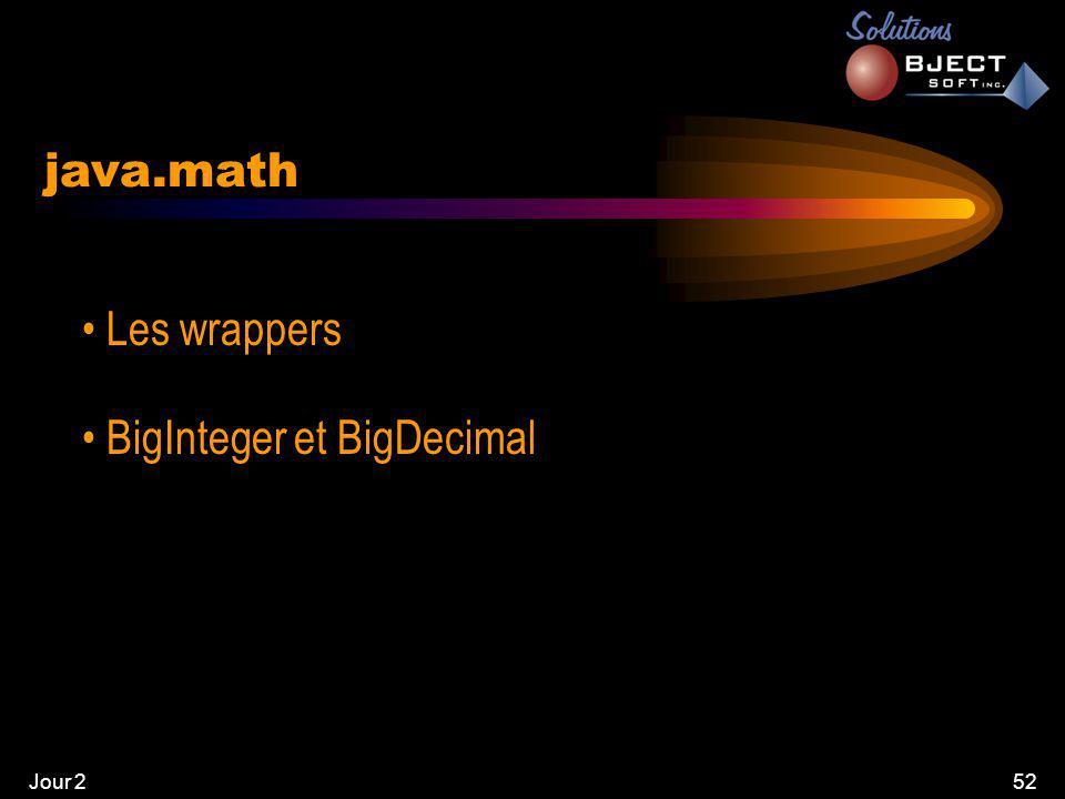 Jour 252 java.math • Les wrappers • BigInteger et BigDecimal