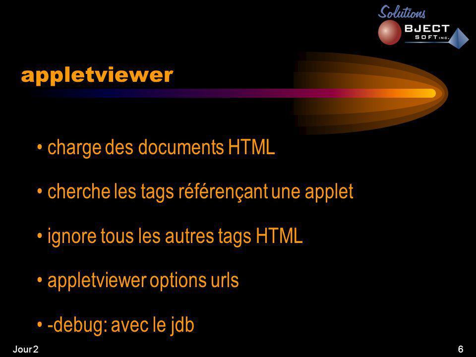 Jour 26 • charge des documents HTML • cherche les tags référençant une applet • ignore tous les autres tags HTML • appletviewer options urls • -debug: avec le jdb appletviewer