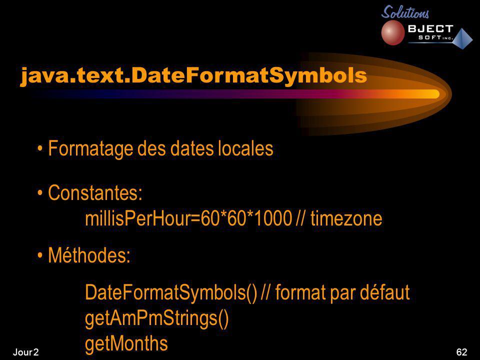 Jour 262 java.text.DateFormatSymbols • Formatage des dates locales • Constantes: millisPerHour=60*60*1000 // timezone • Méthodes: DateFormatSymbols() // format par défaut getAmPmStrings() getMonths