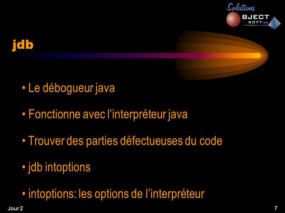 Jour 27 • Le débogueur java • Fonctionne avec l'interpréteur java • Trouver des parties défectueuses du code • jdb intoptions • intoptions: les options de l'interpréteur jdb
