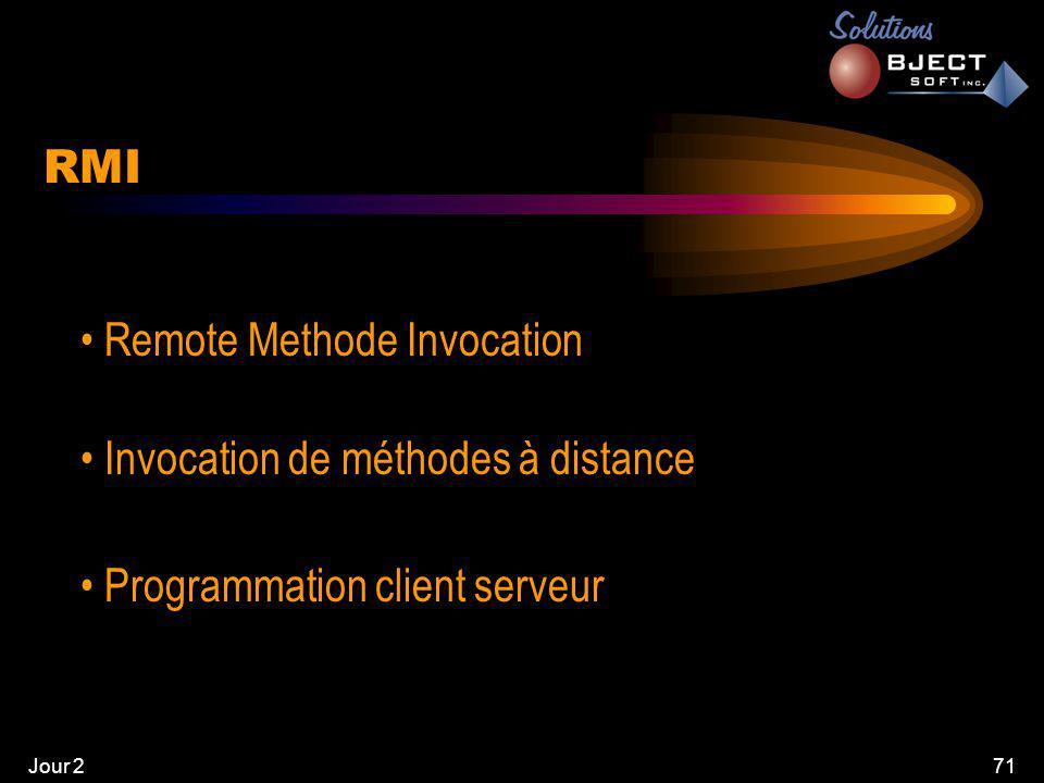 Jour 271 RMI • Remote Methode Invocation • Invocation de méthodes à distance • Programmation client serveur