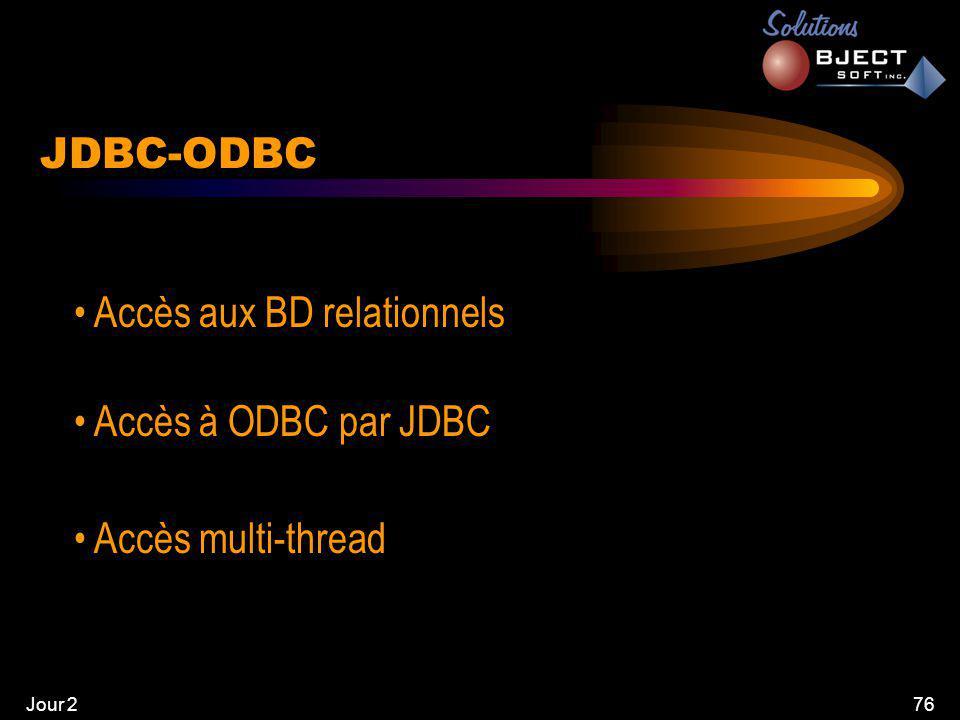 Jour 276 JDBC-ODBC • Accès aux BD relationnels • Accès à ODBC par JDBC • Accès multi-thread
