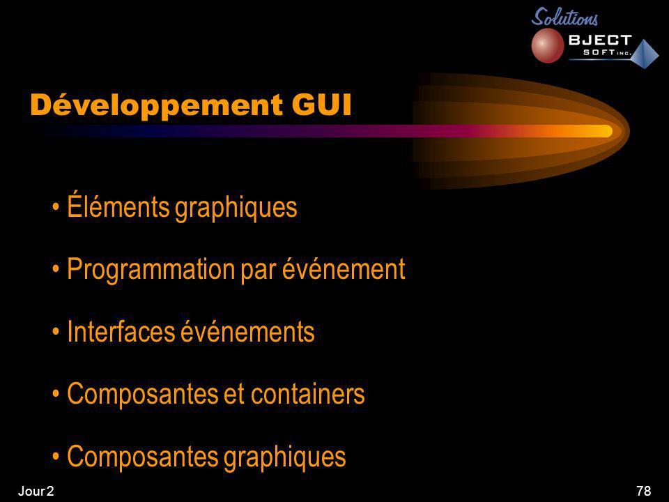 Jour 278 Développement GUI • Éléments graphiques • Programmation par événement • Interfaces événements • Composantes et containers • Composantes graphiques