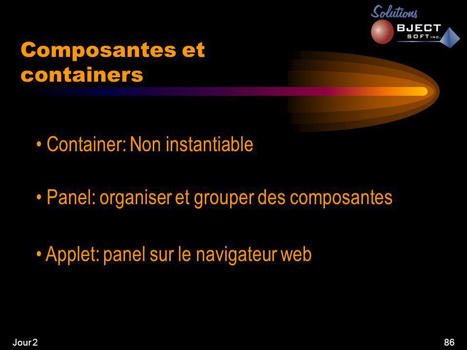 Jour 286 Composantes et containers • Container: Non instantiable • Panel: organiser et grouper des composantes • Applet: panel sur le navigateur web