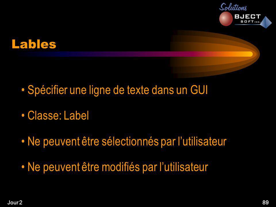 Jour 289 Lables • Spécifier une ligne de texte dans un GUI • Classe: Label • Ne peuvent être sélectionnés par l'utilisateur • Ne peuvent être modifiés par l'utilisateur