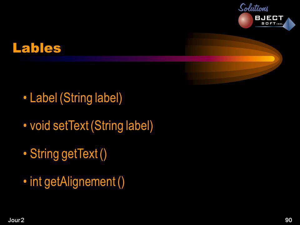 Jour 290 Lables • Label (String label) • void setText (String label) • String getText () • int getAlignement ()