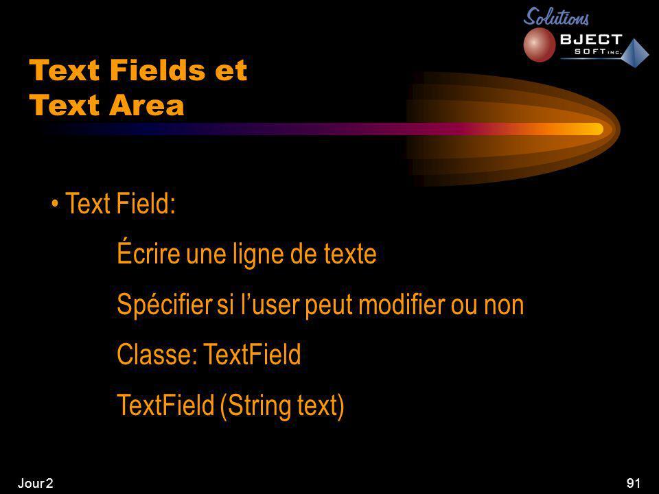 Jour 291 Text Fields et Text Area • Text Field: Écrire une ligne de texte Spécifier si l'user peut modifier ou non Classe: TextField TextField (String text)