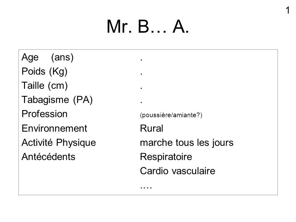 Mr. B… A. Age(ans). Poids (Kg). Taille (cm). Tabagisme (PA). Profession (poussière/amiante?) Environnement Rural Activité Physique marche tous les jou