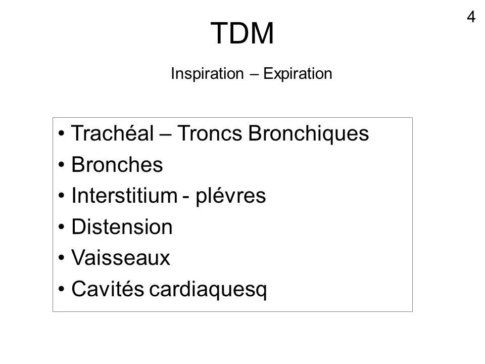 TDM • Trachéal – Troncs Bronchiques • Bronches • Interstitium - plévres • Distension • Vaisseaux • Cavités cardiaquesq 4 Inspiration – Expiration