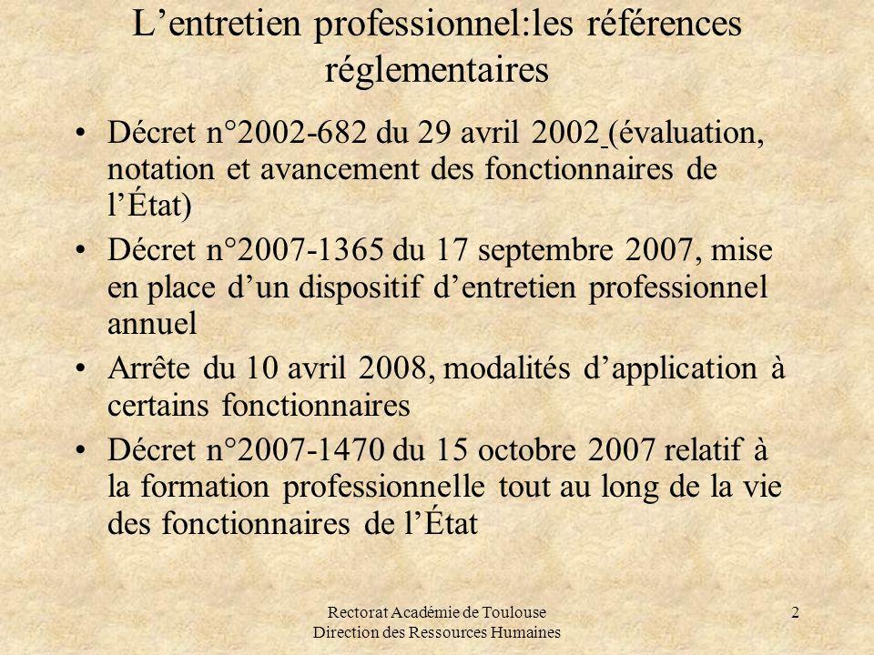 Rectorat Académie de Toulouse Direction des Ressources Humaines 2 L'entretien professionnel:les références réglementaires •Décret n°2002-682 du 29 avr
