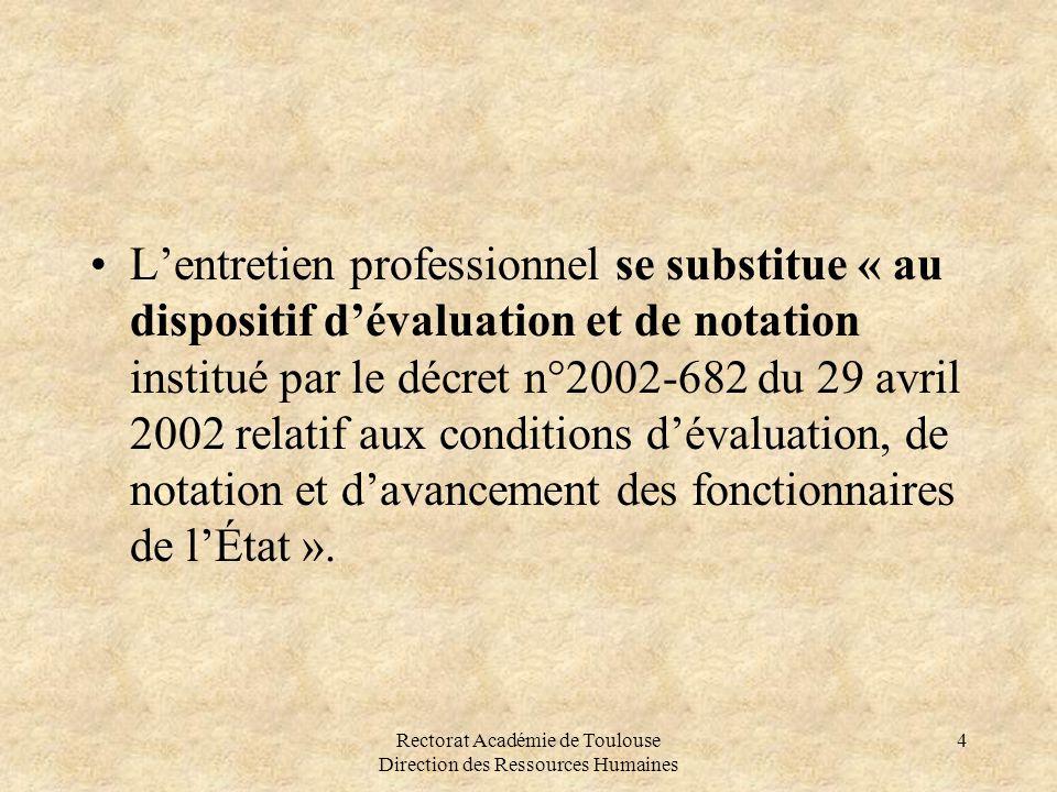 Rectorat Académie de Toulouse Direction des Ressources Humaines 4 •L'entretien professionnel se substitue « au dispositif d'évaluation et de notation