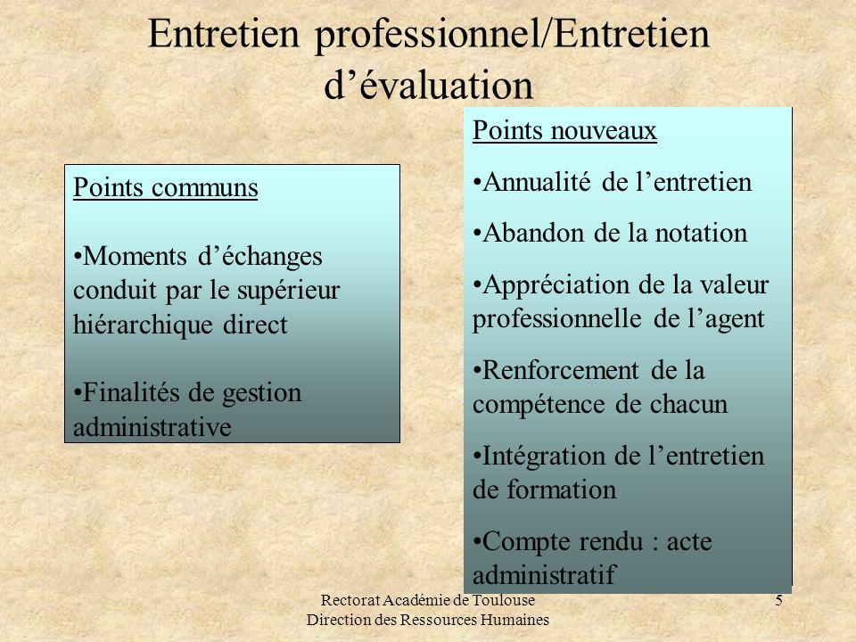 Rectorat Académie de Toulouse Direction des Ressources Humaines 5 Entretien professionnel/Entretien d'évaluation Points communs •Moments d'échanges co