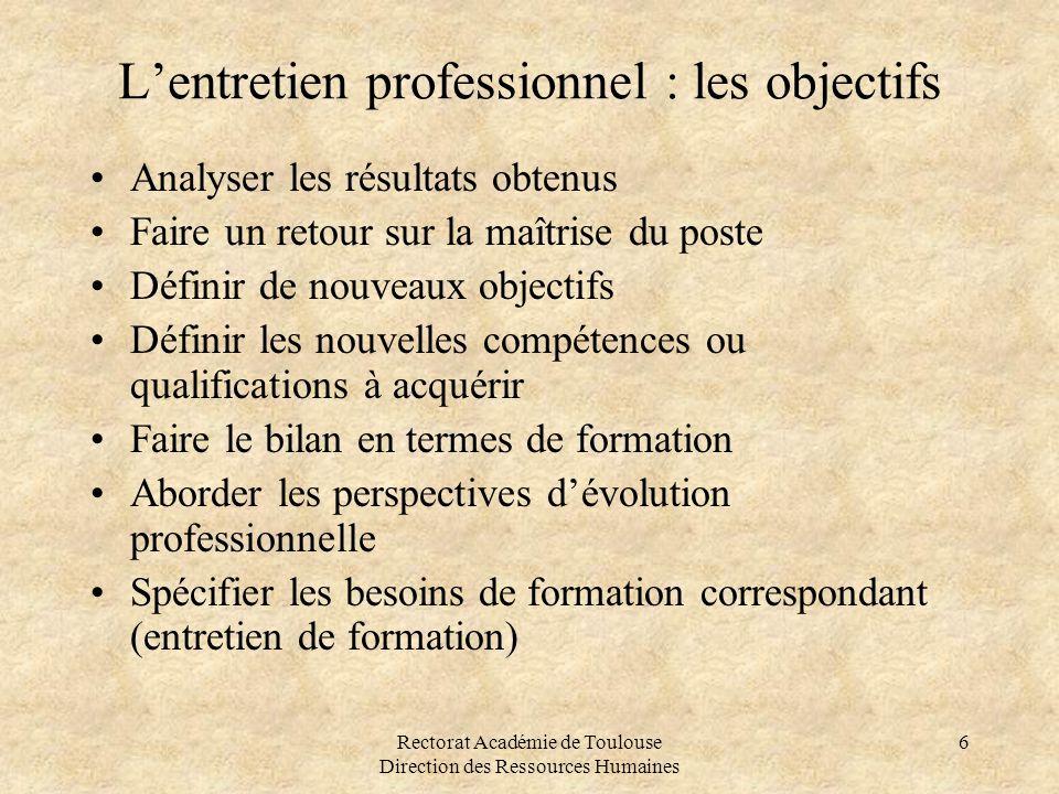 Rectorat Académie de Toulouse Direction des Ressources Humaines 6 L'entretien professionnel : les objectifs •Analyser les résultats obtenus •Faire un