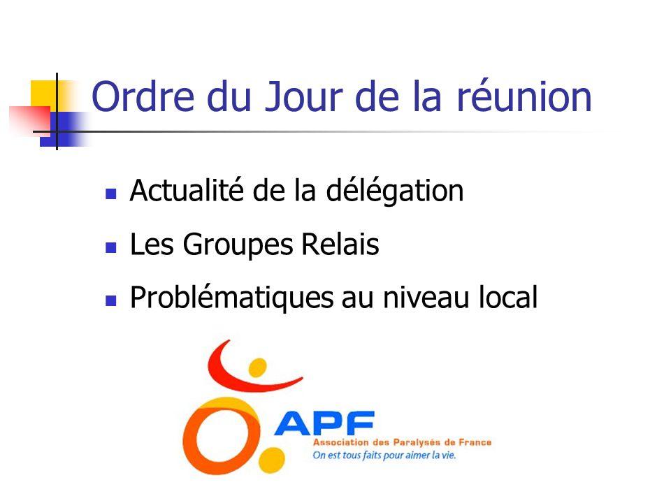 Ordre du Jour de la réunion  Actualité de la délégation  Les Groupes Relais  Problématiques au niveau local