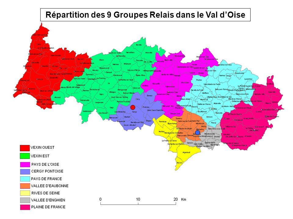 Répartition des 9 Groupes Relais dans le Val d'Oise