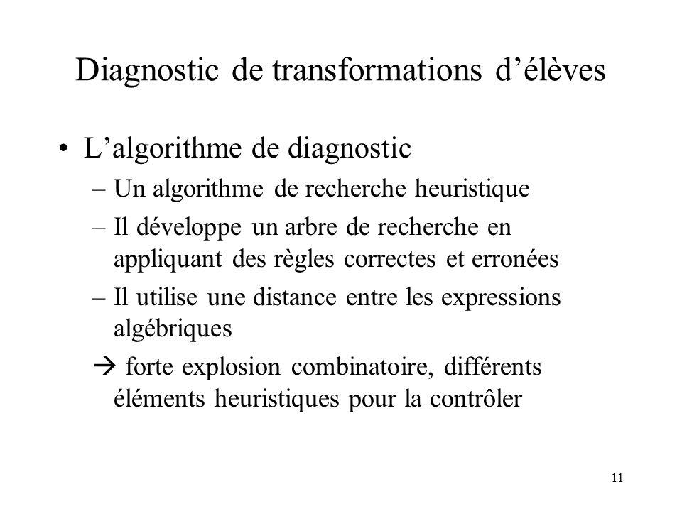 11 Diagnostic de transformations d'élèves •L'algorithme de diagnostic –Un algorithme de recherche heuristique –Il développe un arbre de recherche en a