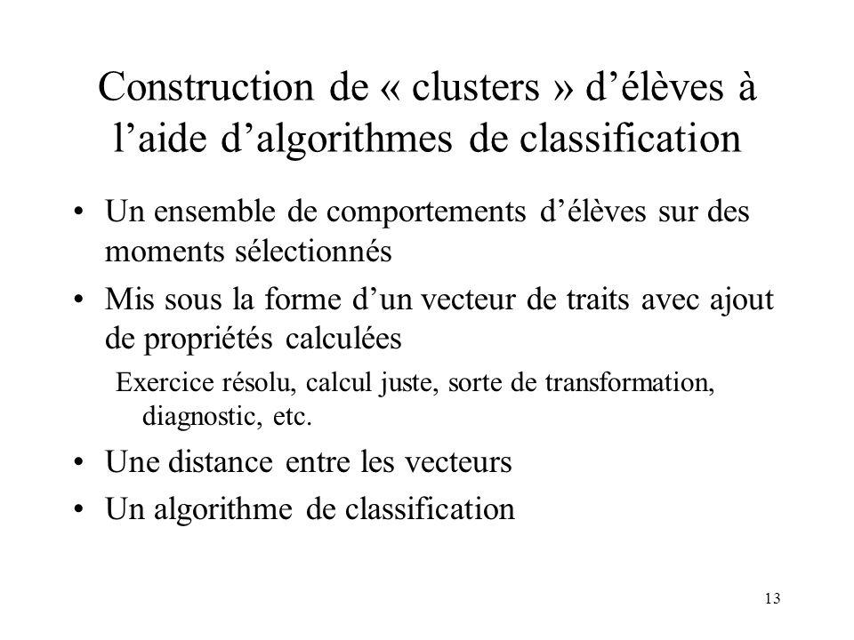 13 Construction de « clusters » d'élèves à l'aide d'algorithmes de classification •Un ensemble de comportements d'élèves sur des moments sélectionnés
