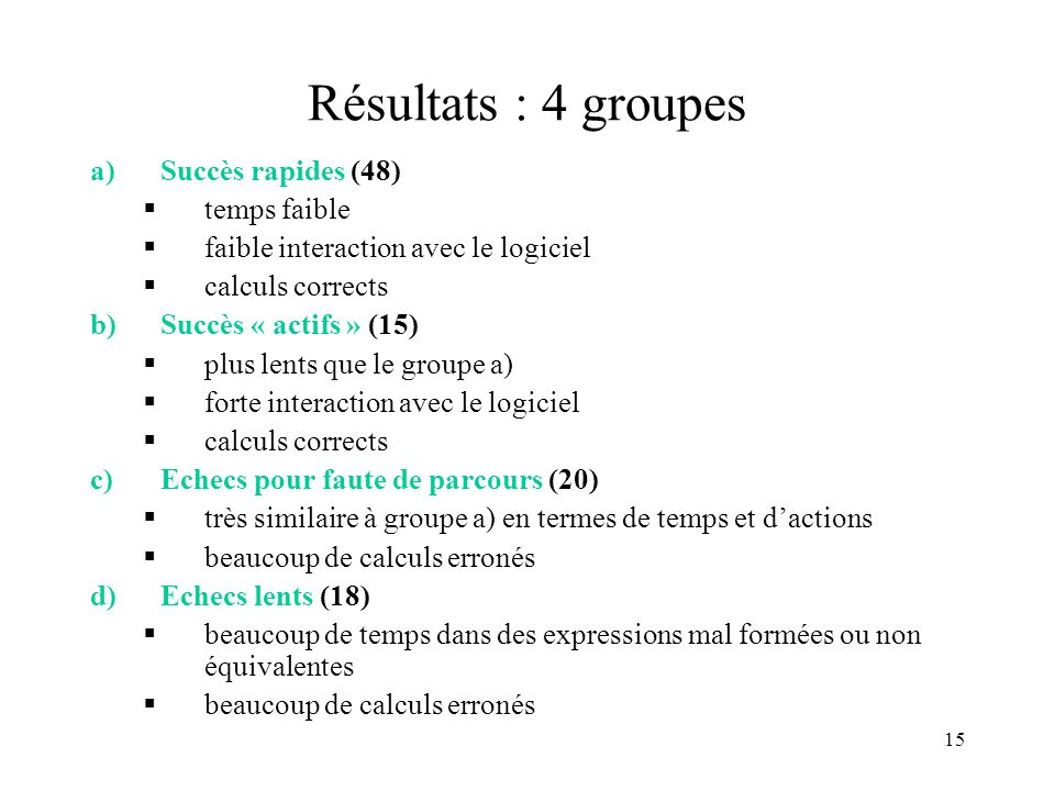 15 Résultats : 4 groupes a)Succès rapides (48)  temps faible  faible interaction avec le logiciel  calculs corrects b)Succès « actifs » (15)  plus