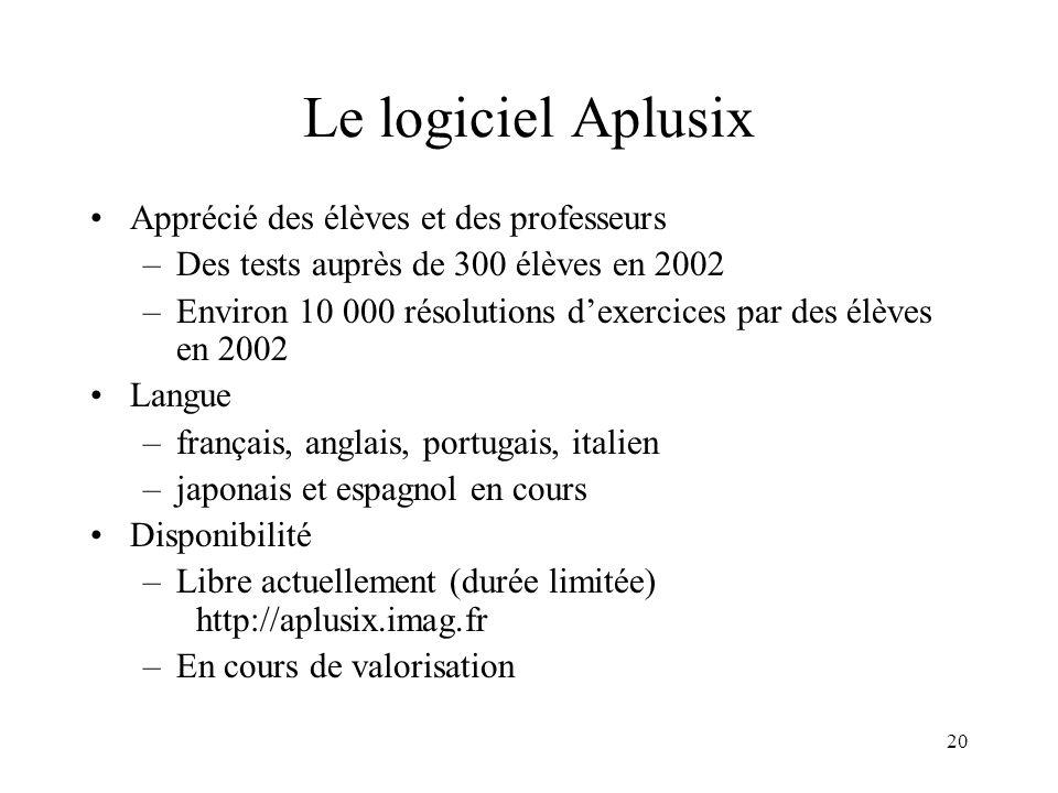 20 Le logiciel Aplusix •Apprécié des élèves et des professeurs –Des tests auprès de 300 élèves en 2002 –Environ 10 000 résolutions d'exercices par des