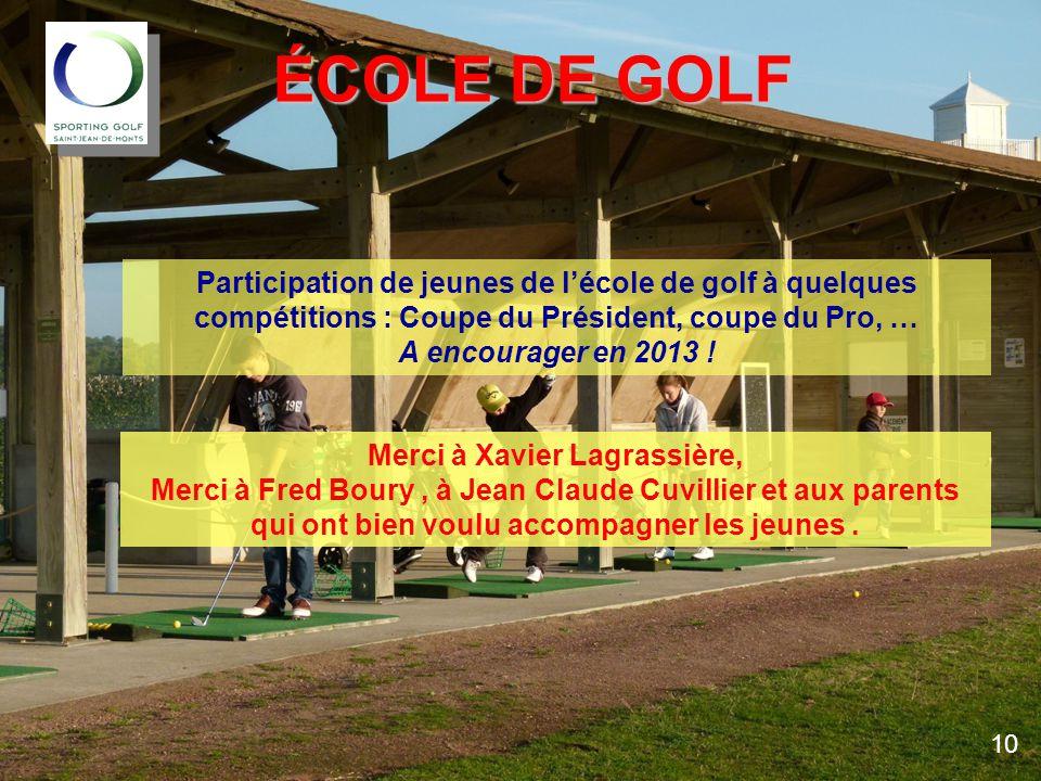 ÉCOLE DE GOLF Participation de jeunes de l'école de golf à quelques compétitions : Coupe du Président, coupe du Pro, … A encourager en 2013 .