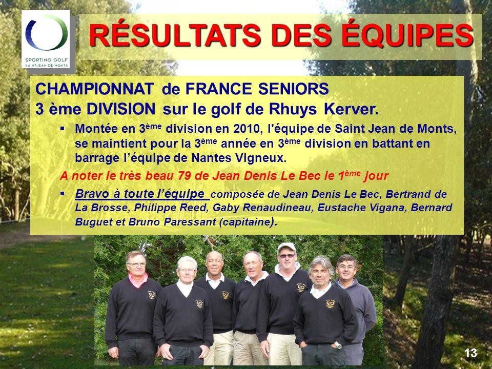 CHAMPIONNAT de FRANCE SENIORS 3 ème DIVISION sur le golf de Rhuys Kerver.
