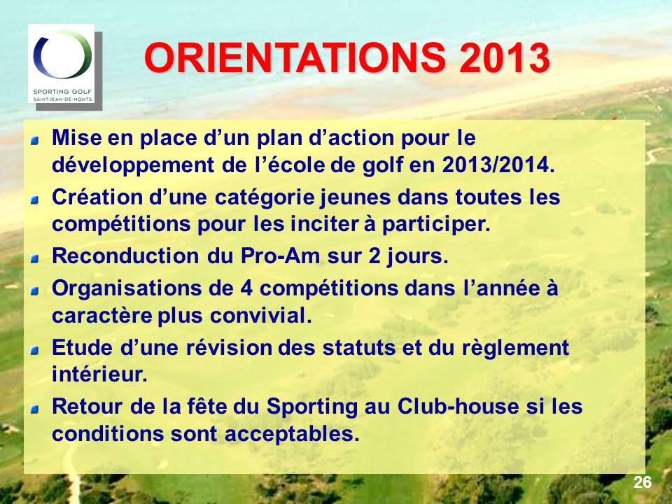 ORIENTATIONS 2013 ORIENTATIONS 2013 Mise en place d'un plan d'action pour le développement de l'école de golf en 2013/2014.