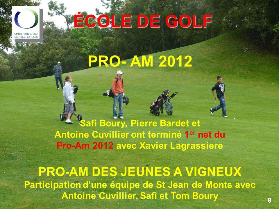 COMPTES 2012 COMPTES 2012 PRO-AM – comparatif 2011/2012 Belle réussite du Pro-Am 2012 malgré les conditions climatiques en particulier le dimanche.
