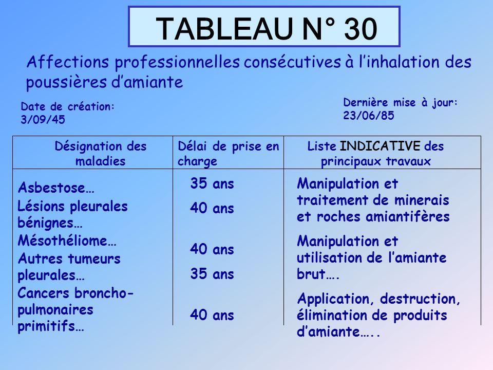 TABLEAU N° 30 Désignation des maladies Délai de prise en charge Liste INDICATIVE des principaux travaux Asbestose… Lésions pleurales bénignes… Mésothé