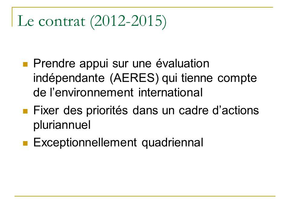 Le contrat (2012-2015)  Prendre appui sur une évaluation indépendante (AERES) qui tienne compte de l'environnement international  Fixer des priorité