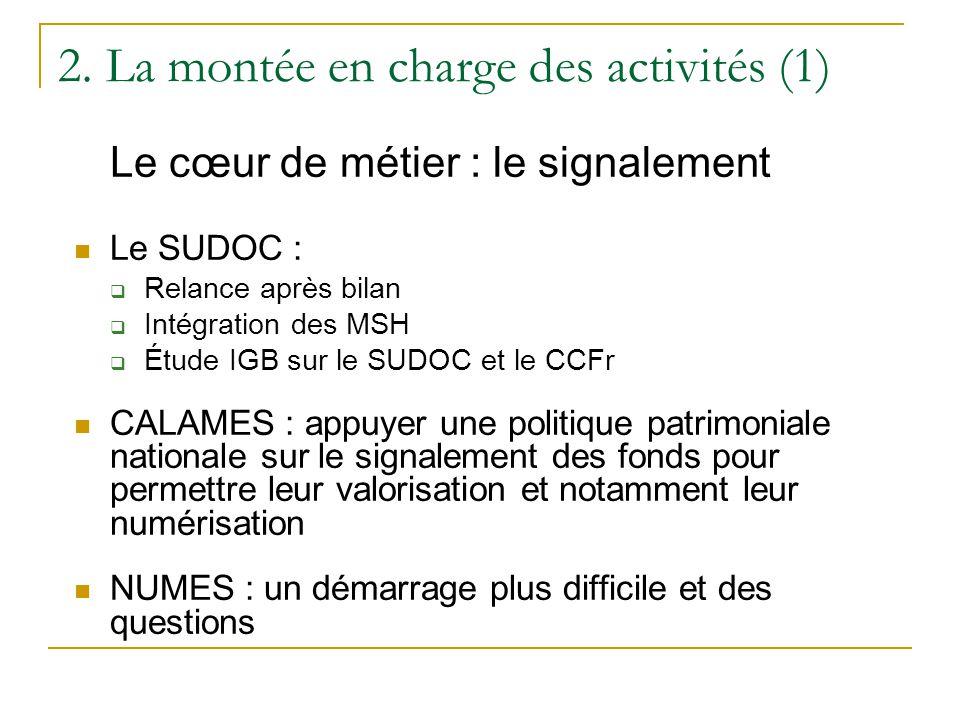 2. La montée en charge des activités (1) Le cœur de métier : le signalement  Le SUDOC :  Relance après bilan  Intégration des MSH  Étude IGB sur l