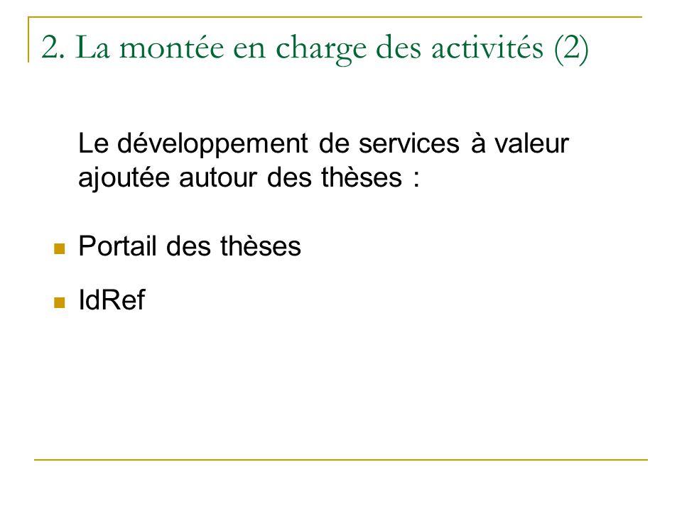 2. La montée en charge des activités (2) Le développement de services à valeur ajoutée autour des thèses :  Portail des thèses  IdRef