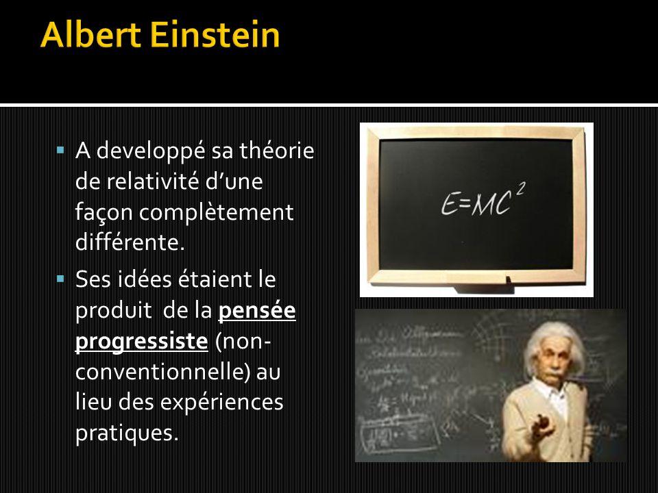  A developpé sa théorie de relativité d'une façon complètement différente.