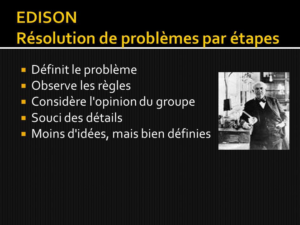 Questionne, ouvert  Ignore les règles pour résoudre les problèmes  Questionne la pensée du groupe  S intéresse pas aux détails  Beaucoup d idées